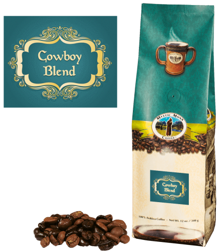 Mystic Monk Coffee Cowboy Blend Whole Bean Dark Roast 12 oz.
