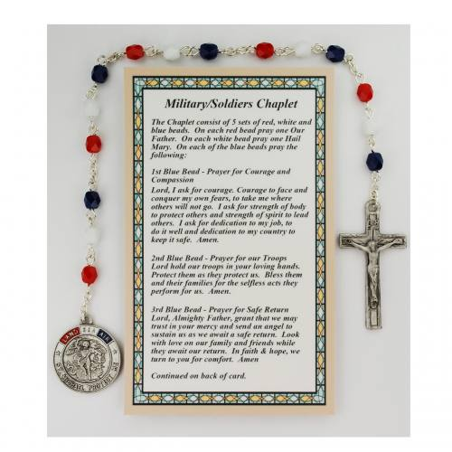 Chaplet Rosary Military Soldiers St. Michael Red White and Blue