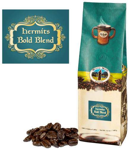Mystic Monk Coffee Hermits Bold Blend Whole Bean Dark 12 oz.