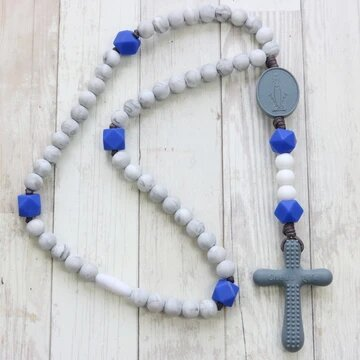Chews Life Teething Rosary Marble and Blue
