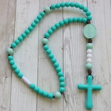 Chews Life Teething Rosary Turquoise and Mint