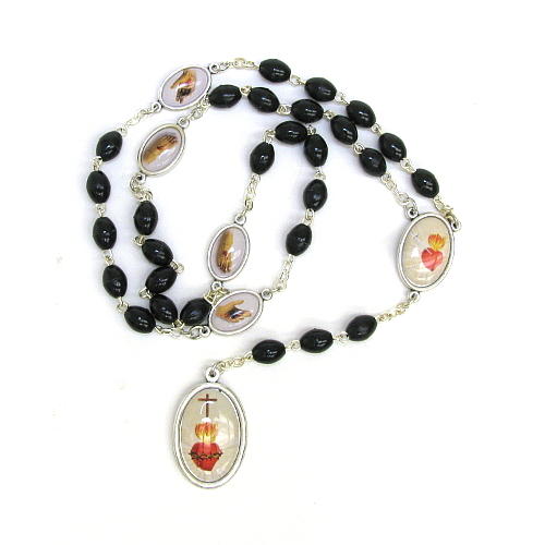 Chaplet Rosary Jesus Five Wounds Oxidized Silver Enameled Beads