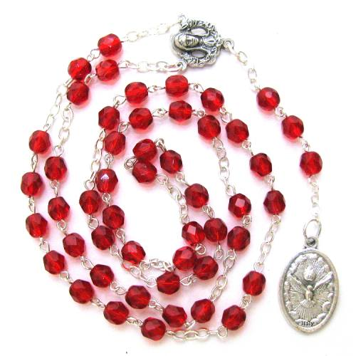 Chaplet Rosary Holy Spirit Oxidized Silver Red Beads