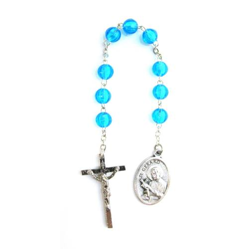 Chaplet Rosary St Gerard Oxidized Silver Blue Beads