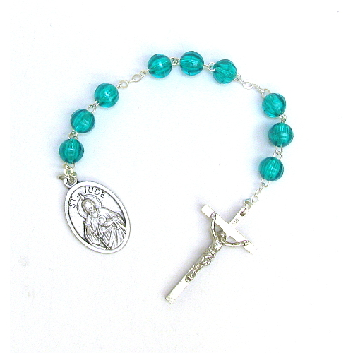 Chaplet Rosary St Jude Thaddeus Oxidized Silver Blue Beads