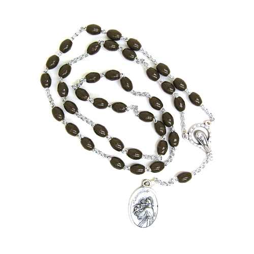 Chaplet Rosary St Anthony Padua Oxidized Silver Brown Beads