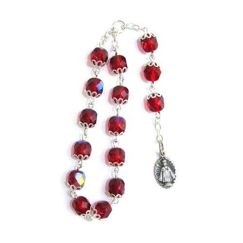 Chaplet Rosary Jesus Infant Prague Oxidized Silver Red Beads