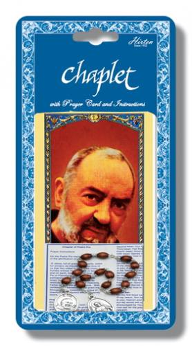 Chaplet Rosary St Padre Pio Oxidized Silver Wood Beads