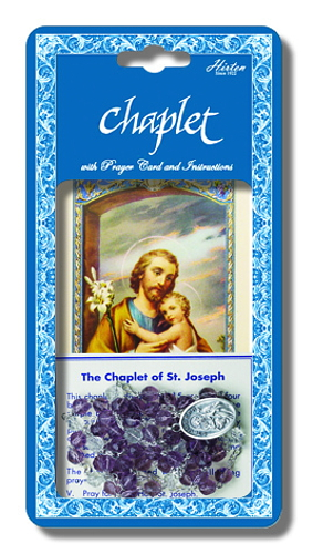 Chaplet Rosary St Joseph Oxidized Silver Purple Beads