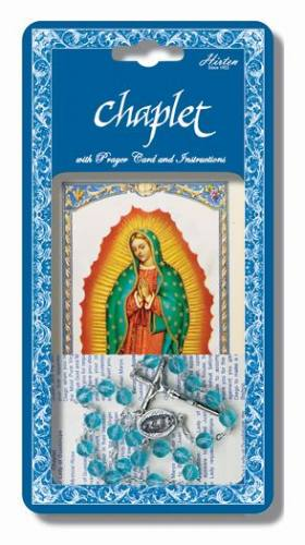 Chaplet Rosary Mary Our Lady Guadalupe Oxidized Silver Blue Bead