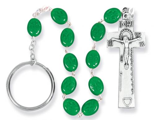 Chaplet Rosary Irish Penal Oxidized Silver Green Shamrock Beads