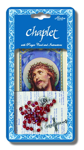 Chaplet Rosary Jesus Precious Blood Oxidized Silver Red Beads
