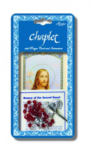 Chaplet Rosary Jesus Sacred Heart Oxidized Silver Red Beads