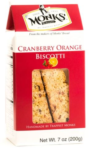 Monks' Cranberry Orange Biscotti Trappist Monks 7 oz.