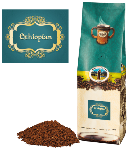 Mystic Monk Coffee Ethiopian Blend Ground Medium Roast 12 oz.
