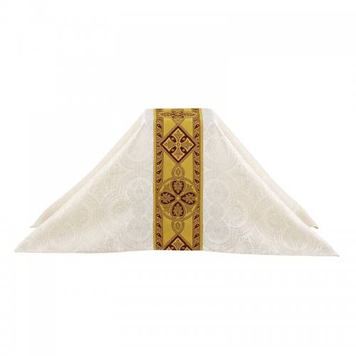 Chalice Veil Avignon Collection Ivory with Burgundy & Gold Bandi