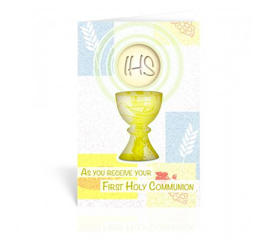 Greeting Card Chalice With Host Yellow