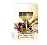 Greeting Card Chalice With Host Gold