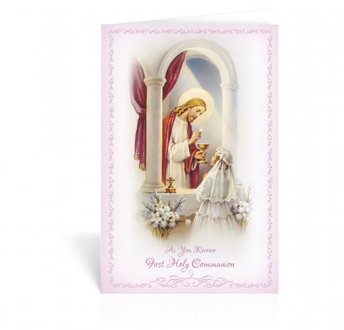 Greeting Card First Communion Girl With Jesus
