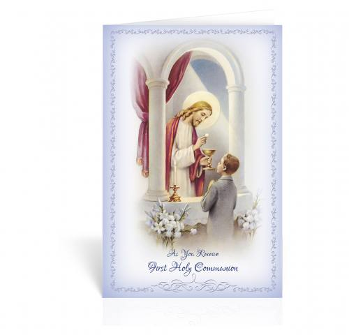 Greeting Card First Communion Boy With Jesus