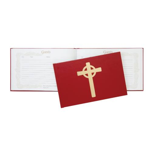 Record Book Guest Register Leatherette Red