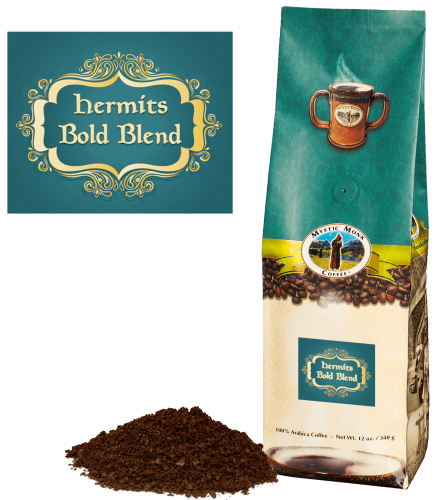 Mystic Monk Coffee Hermits Bold Blend Ground Dark Roast 12 oz.