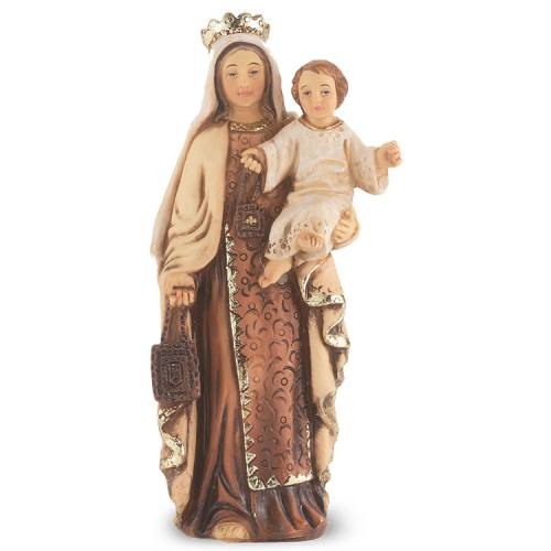 Statue Mary Our Lady Mt Carmel 4 inch Resin Painted Boxed