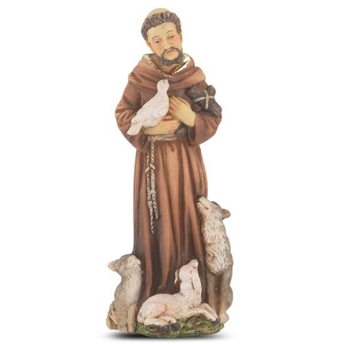 Statue St Francis Assisi 4 inch Resin Painted Boxed