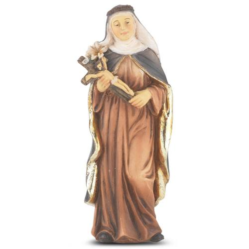 Statue St Catherine Siena 4 inch Resin Painted Boxed