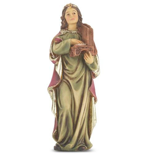 Statue St Cecilia 4 inch Resin Painted Boxed