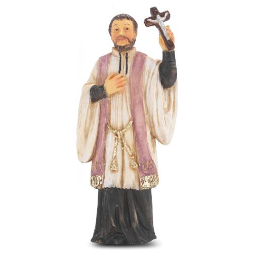 Statue St Francis Xavier 4 inch Resin Painted Boxed