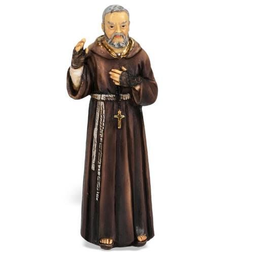 Statue St Padre Pio 4 inch Resin Painted Boxed