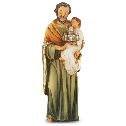 Statue St Joseph 4 inch Resin Painted Boxed
