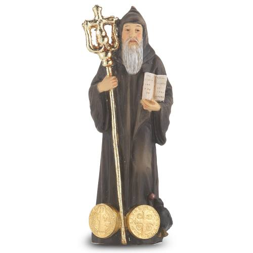 Statue St Benedict Norcia 4 inch Resin Painted Boxed