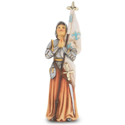Statue St Joan of Arc 4 inch Resin Painted Boxed