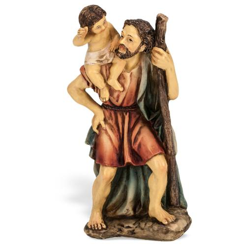 Statue St Christopher 4 inch Resin Painted Boxed