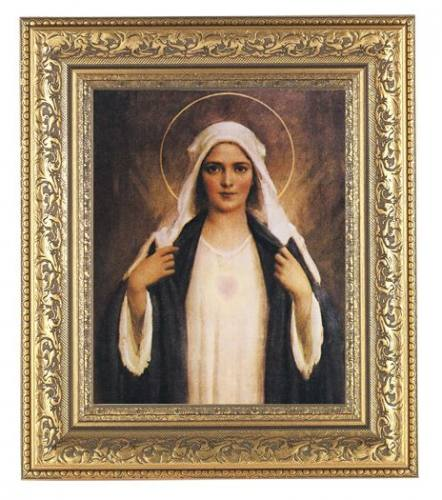 Print Mary Immaculate Heart 8 x 10 inch Gold Framed