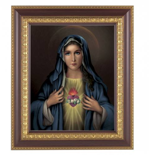 Print Mary Immaculate Heart 8 x 10 inch Gold Trim Framed