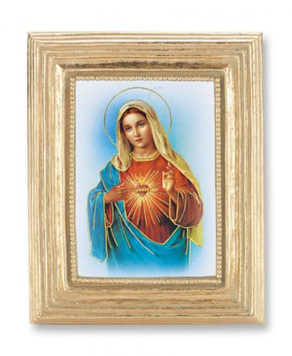 Print Mary Immaculate Heart 2 x 3 inch Gold Framed