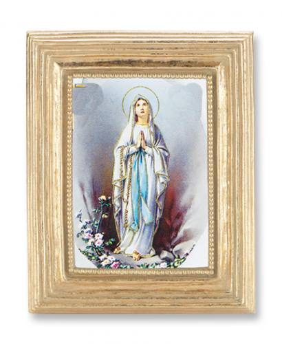 Print Mary Our Lady Lourdes 2 x 3 inch Gold Framed