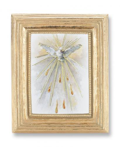 Print Holy Spirit Dove Pentecost 2 x 3 inch Gold Framed