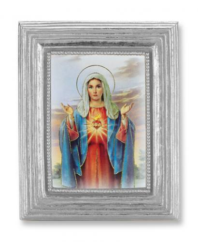 Print Mary Immaculate Heart 2 x 3 inch Silver Framed