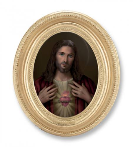 Print Jesus Sacred Heart 2.25 x 3 inch Gold Framed Round