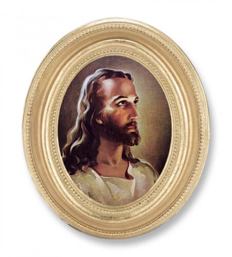 Print Jesus Holy Face 2.25 x 3 inch Gold Framed Round
