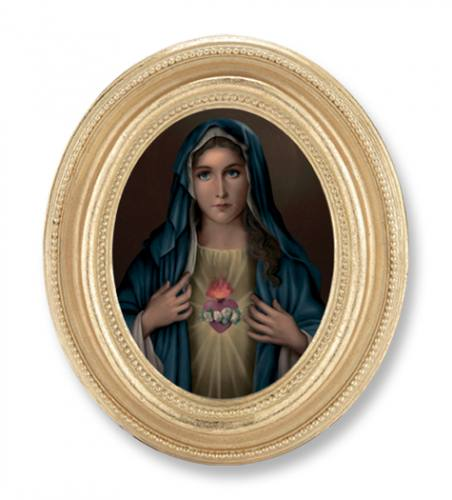 Print Mary Immaculate Heart 2.25 x 3 inch Gold Framed Round