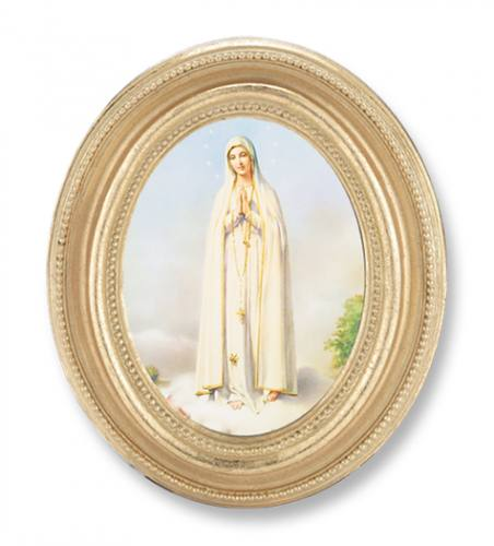 Print Mary Our Lady Fatima 2.25 x 3 inch Gold Framed Round