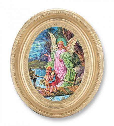 Print Guardian Angel 2.25 x 3 inch Gold Framed Round