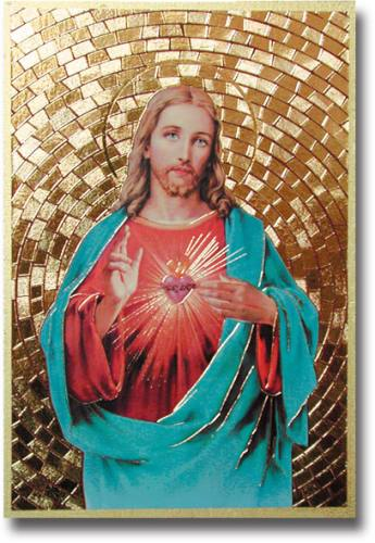 Plaque Jesus Sacred Heart 4 x 6 inch Mosaic