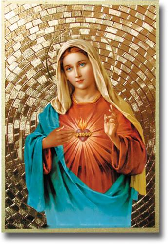 Plaque Mary Immaculate Heart 4 x 6 inch Mosaic