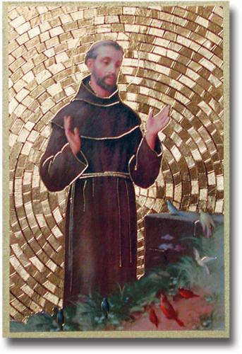 Plaque St Francis Assisi 4 x 6 inch Mosaic